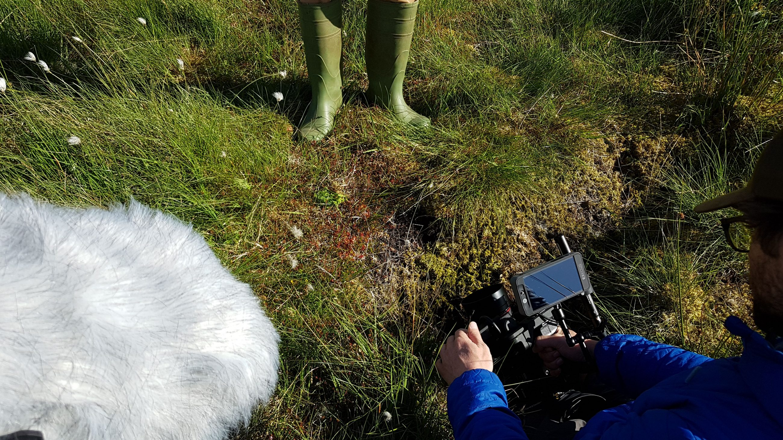 Benjamin Sadd (Director of Photography) capturing some welly shots for The Carbon Farmer - Behind the scenes of The Carbon Farmer