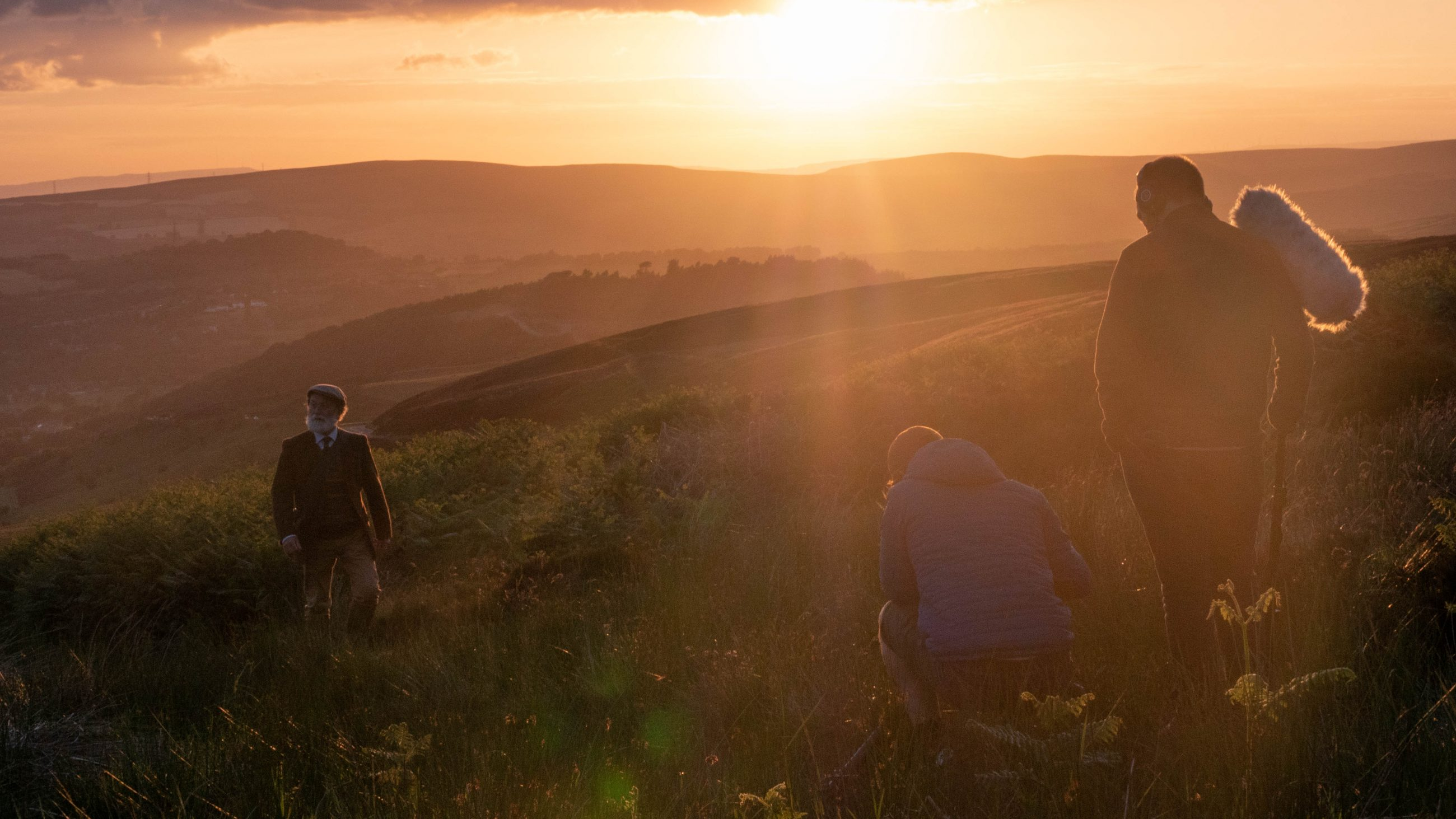 Behind the scenes, filming the final sequence of The Carbon Farmer at sunset