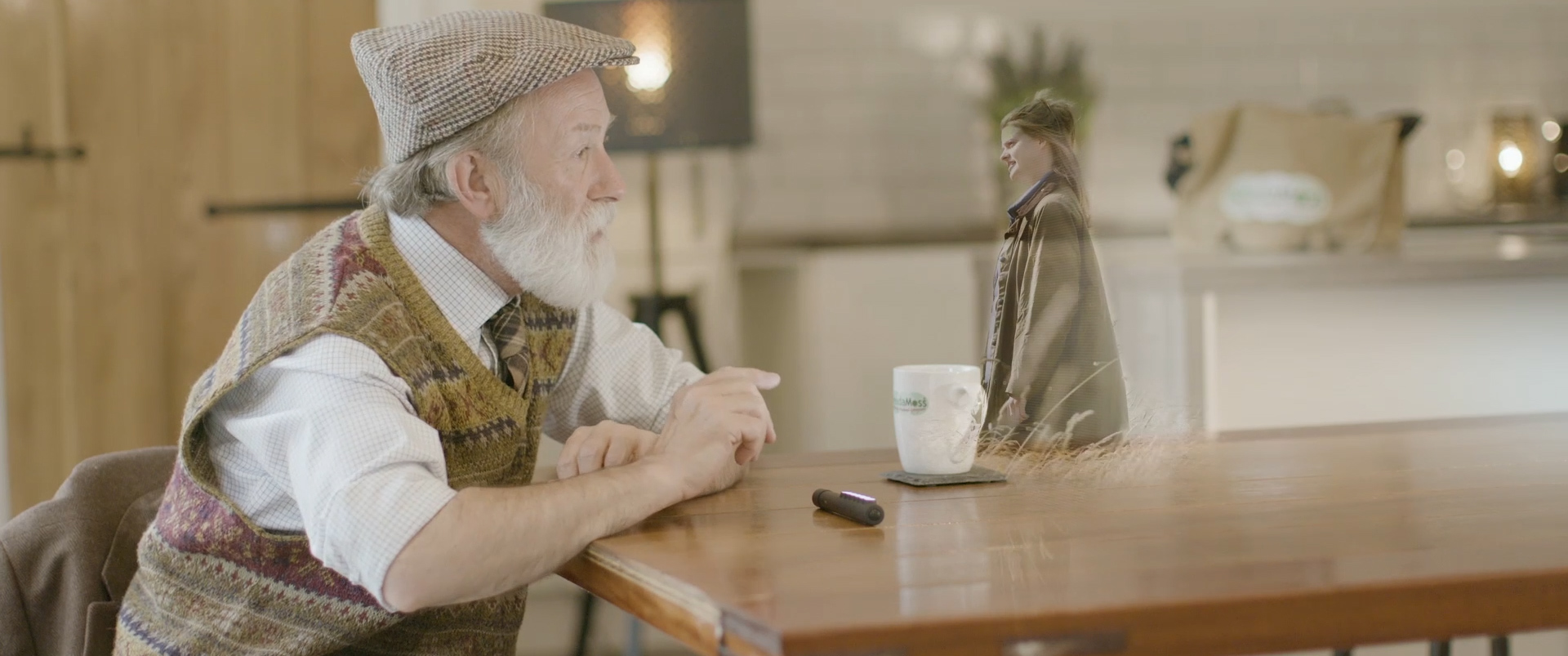 The Carbon Farmer (Melvyn Rawlinson) video calling his Sophie using a futuristic device